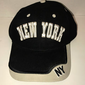 New York NY Black And Off White Adjustable Hat